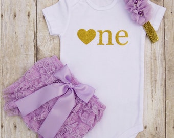 One Year Old Girl Birthday Outfit...Purple and Gold Birthday Outfit...Cake Smash Outfit Girl...1st Birthday Girl Outfit..1 Year Old Birthday