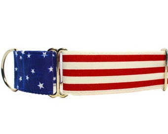 4th of July Martingale Dog Collar, Memorial Day Martingale Dog Collar, American Flag Martingale Collar, Stars and Stripes, Independence Day