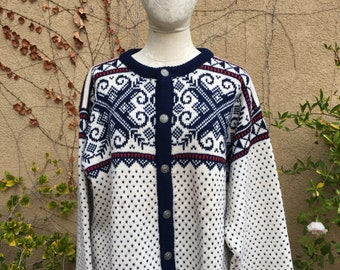 Vintage 1980s classic ivory nordic design Dale of Norway cardigan sweater size L XL