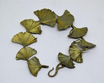 Vintage Sterling Silver Ginko Leaf Chain Link Bracelet Patina Colored