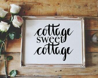 Cottage SVG, Farm Decor SVG, Cottage Vector, Hand Lettered, Calligraphy Cut File, SVG Cut File, Graphic Overlay