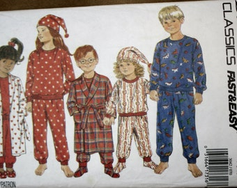 Butterick 3042 Vintage Retired Children's Pajamas, Robe Booties and Hat Sewing Pattern Uncut Size 7-8-10