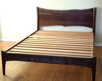 Platform Bed   Walnut   Mid Century Modern   Live Edge   Custom Sizes