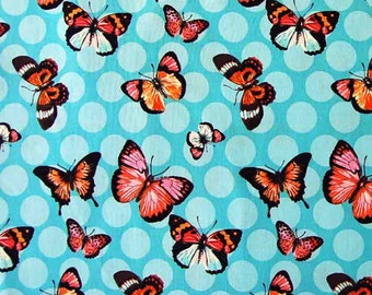 Butterfly fabric, 100% premium cotton, quilting cotton fabric by the yard, aqua fabric, sewing cotton by Paula Prass for Michael Miller.