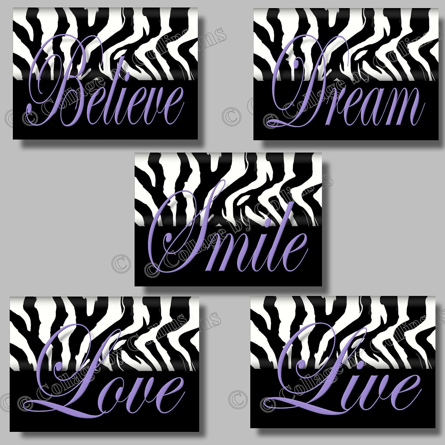 purple zebra print inspirational smile dream live love believe