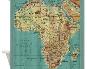 Map Of Africa Shower Curtain   Home Decor   Bathroom   Maps, Teal, Gold