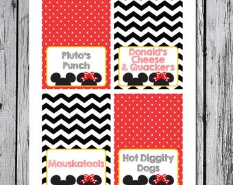 Printable food cards food tents Mickey Mouse themed party Twins First Birthday Minnie Mouse custom party theme for children girls boys