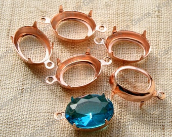 14x10 Rose Gold Oval Open Back Prong Open Back 1 Ring Or 2 Ring - 6pcs
