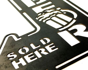 Steel 'Ice Cold Beer Sold Here' Sign