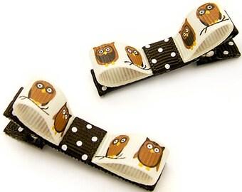 Owl Hair Clips, Autumn Tuxedo Bows, Owl Bows, Baby, Toddler, Girls, Polka Dots, Brown, Cream, Woodland Kawaii