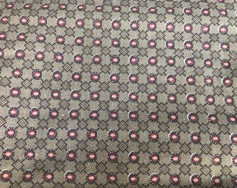 2 Yards of Brown and Rust Geometric Print Cotton Fabric