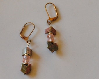 Unakite chevron earrings
