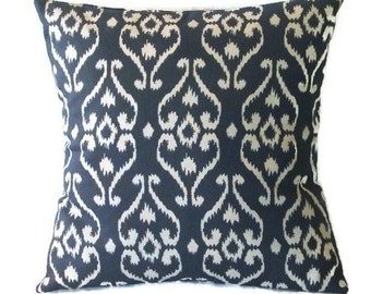 Pillow Cover, Indigo Blue and White, Throw Pillow Cover, Ikat Design, 18 x 18 Inches