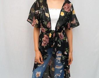 LIVE4TRUTH  Black Floral & Bird Print Tie Front Short Sleeve Duster