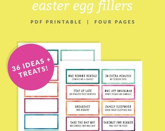 Easter Egg Filler Coupons - Printable Easter Basket Fillers - Instant Download - Watercolor Easter Egg Borders - Easter Candy Alternative