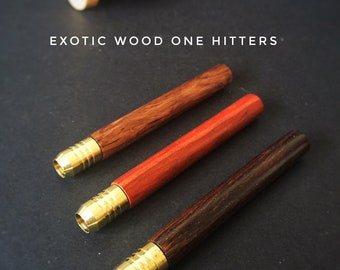 "Exotic Wood One Hitter Pipes- 2"" & 3"" length- Upgraded Beautiful Wood Grain Pipe with Brass Head"