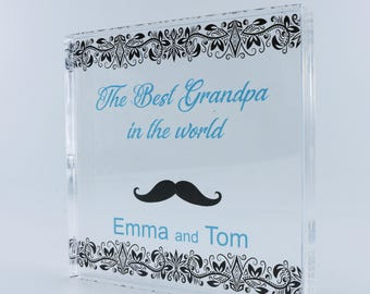 Personalized Square, Wedding Gift, Save the date, Personalized Wedding Gift, Invitations, Grandpa presents, Mustache, grandfather