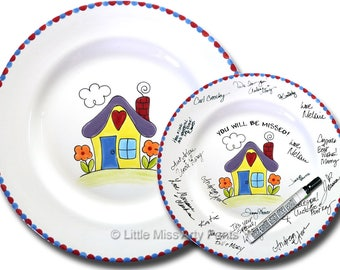 Free Shipping - Hand Painted Signature Plate - Happy Housewarming Design - Guest Book Plate - Housewarming plate - Housewarming Gift