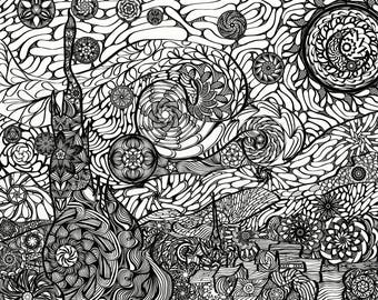Starry Night, van Gogh Mandala, Adult Coloring Page, Printable (Original Size)