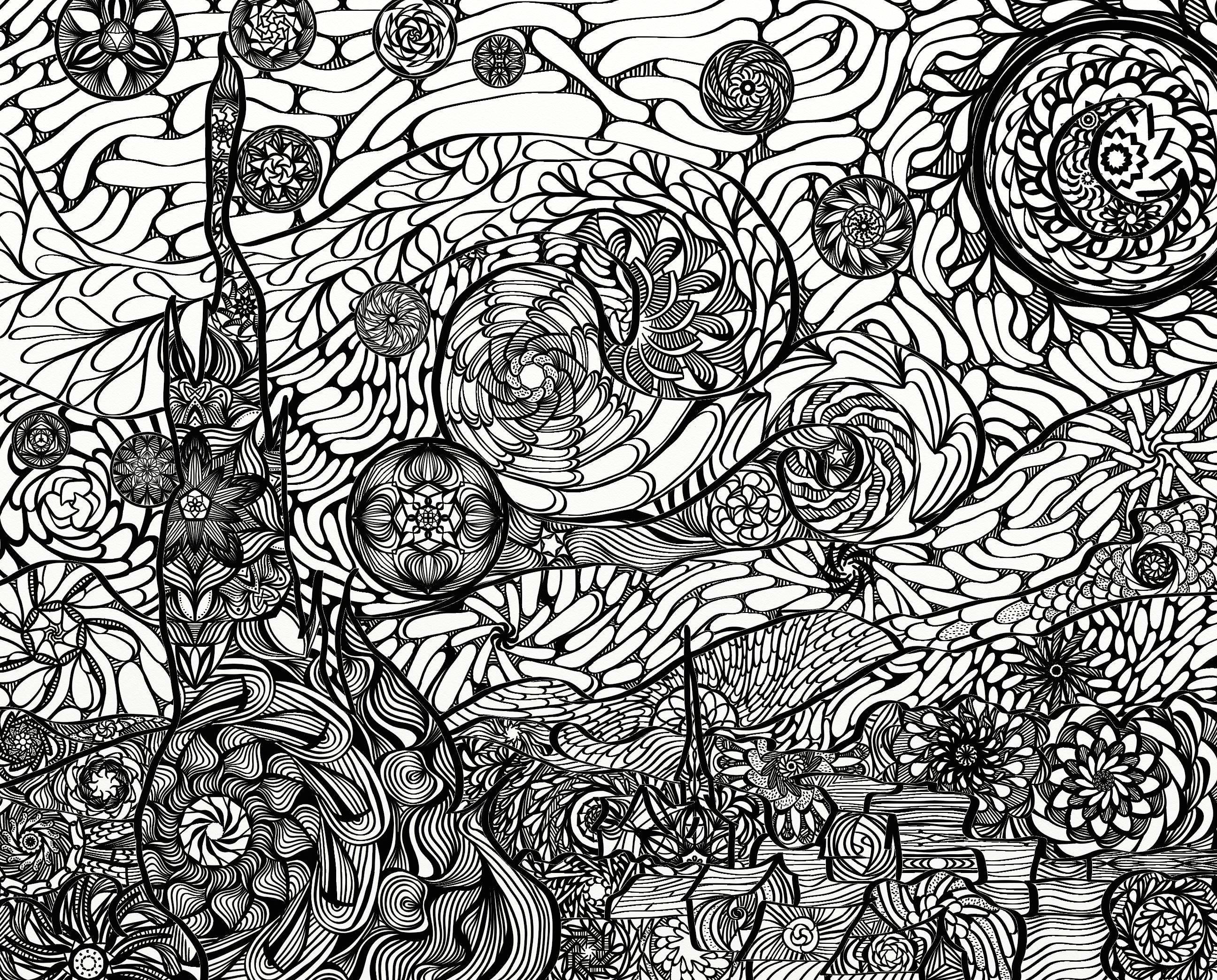 Notte stellata van gogh mandala adulto coloring page - Coloriage van gogh ...