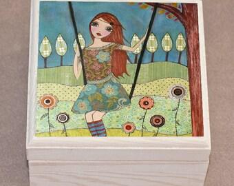 Whimsical Mixed Media Girl Jewelry Box, Trinket Box, Gift Box, Whimsical Mixed Media Artwork