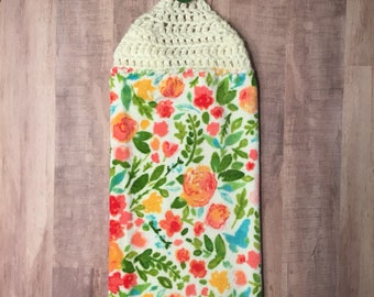 Crocheted Top Dish Towel - Spring Floral