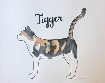 Custom Cat Watercolor Painting