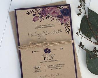 Rustic Wedding Invitation, Floral Wedding Invitation, Kraft Wedding Invitation, Boho, Rustic Wedding Invitation