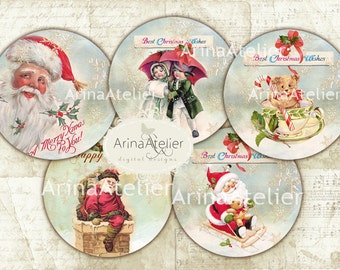 Holiday Circles 2,5 inch - Circle microslides - 2 inch circles - digital collage sheet - pocket mirrors, tags, scrapbooking, cupcake toppers