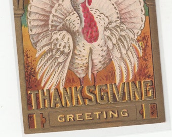 PM 1908 Gold,Patriotic,Heavily Embossed,White Turkey, Fruit And Patriotic Bow At Top