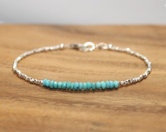 Sleeping Beauty Turquoise Bracelet, Hill Tribe Silver Beads, Sleeping Beauty Turquoise Jewelry, December Birthstone