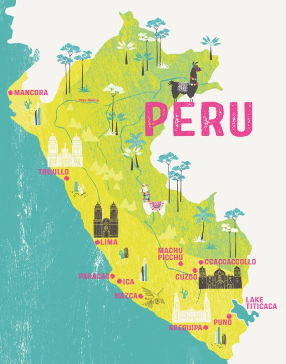 Map Of Peru / Illustrated Map / Travel Gift / Retro Map / Gift