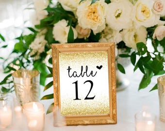 Gold table number signs, wedding tables, glitter table signs, table numbers, set of 20, instant download, printable table number signs