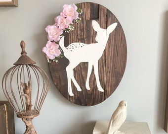 Oval Fawn Sign stained in Kona with Light Pink Rose Faux Flower Arrangement, woodland decor, girl nursery