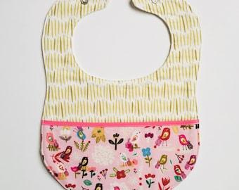 Organic baby bib, organic pocket bib, cotton bib, pocket bib