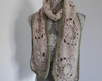 Scarf. Crochet scarf. Cotton scarf. Designer scarf