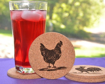 Personalized Rooster and Hen Cork Coasters, Set of 4 Assorted Round or Square Chicken Coasters, Country Decor - #12