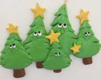Personalized original Christmas tree family of 5 ornament , first Christmas, Christmas tree, couple ornament