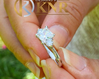 Large 14k solid white gold princess shape and round cut forever one moissanite engagement ring art deco three stone style 2.20ctw