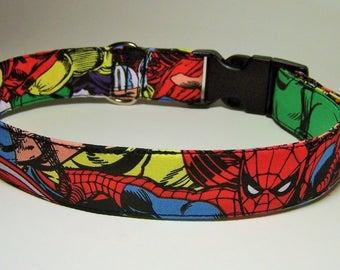 Retro Marvel Comics Spiderman Thor Ironman Wolverine The Hulk Captain America Dog Collar Avengers Superhero