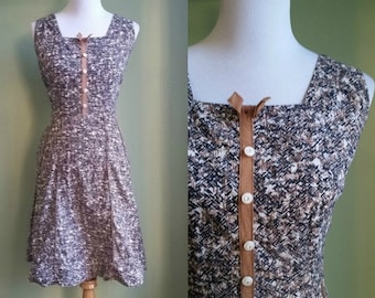 1950s Geometric Print Day Dress - Vtg Sundress - Medium/Large