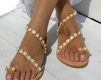 Wedding shoes/ Luxury leather sandals/ Bridal sandals/ Wedding sandal/ Handmade to order leather sandals/ Embellished shoes SWEETHEART