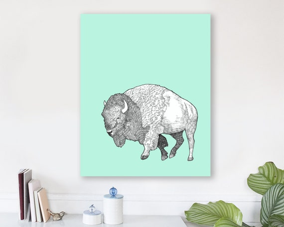 large modern wall art on canvas, minimalist fine art, colorful modern wall art, bison wall art, buffalo wall art, woodland nursery - Bison