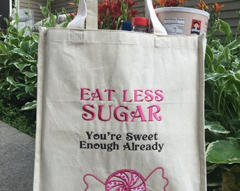Large Grocery Reusable Bag, Embroidered