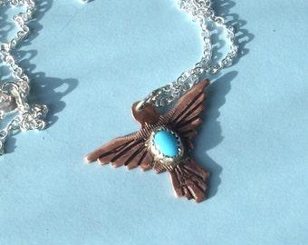 Tribal Bird pendant with Turquoise