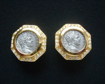 Unsigned CINER Gold Tone & Silver Pewter Metal Marcus Aurelius Claudius ? Roman Emperor Style Faux Coin Clip on Earrings Rhinestones Accents