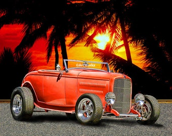 Classic Deuce Roadster - Hot Rod Art - '32 Ford Roadster - Classic Car Print - 8x10 Print w/ 11 x 14 Mat - A41