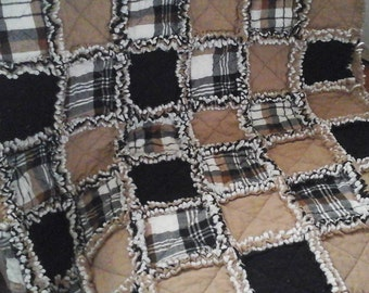 Camel, Black & Plaid Rag Lap Quilt
