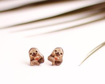 Sloth studs , Animal earrings , Sloth earrings , Funny studs , Funny gift idea , Hipster sloth studs , Sloth lover gift , Animals studs