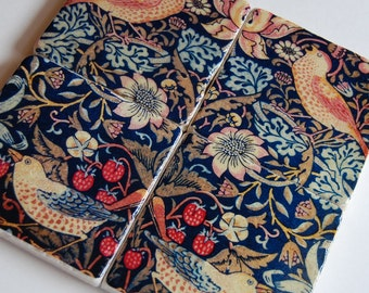 Hearth & Home stone coasters - immediate shipping - birds and floral folk art - William Morris